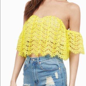 e2868c0a1be Tobi Tops   Nwt Bright Yellow Cold Shoulder Crop Top   Poshmark